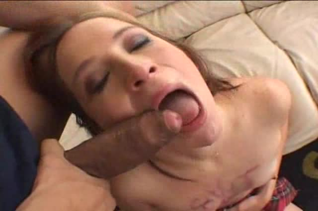 Schoolgirl redhead rough face fuck and deepthroat