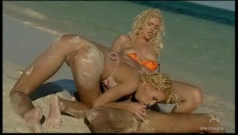 Two curly hair blondes fucking outdoors