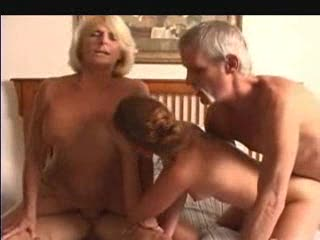 Granny and a young chick in a foursome