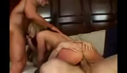Blonde can handle anal from both guys