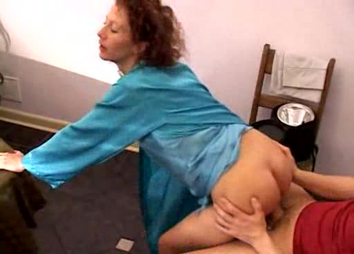 He takes the satin milf in her kitchen