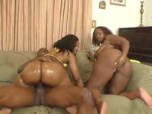 Fucking two hot black bitches in their asses