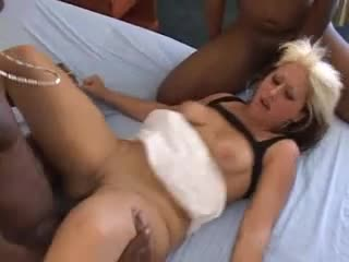 Hotel room slut takes creampies from big black cocks
