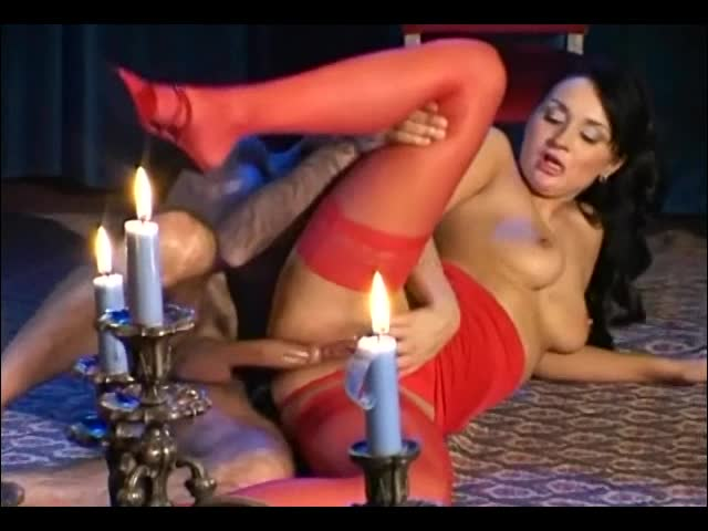 Sexy milf fucking in red stockings and panties