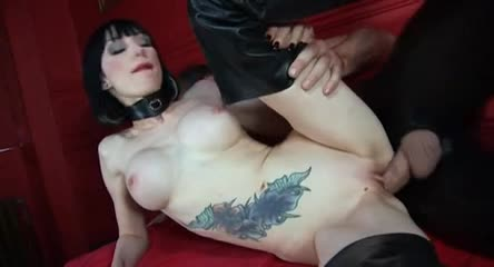 Milky white skin girl in leather boots suck and fuck