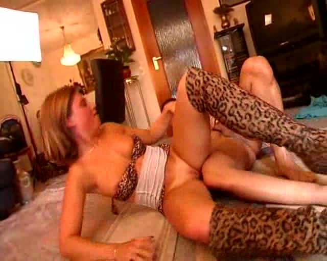 Animal print boots look hot on the fuck slut