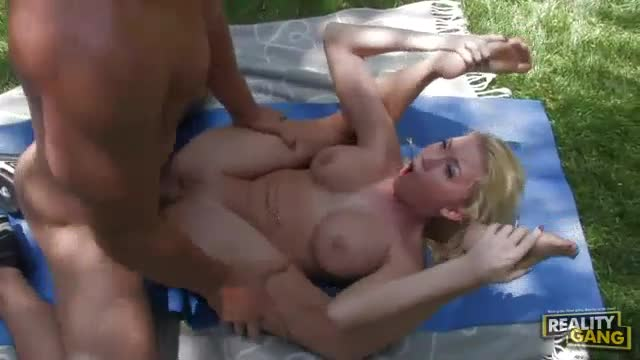 Busty blonde with flexible legs banged outdoors