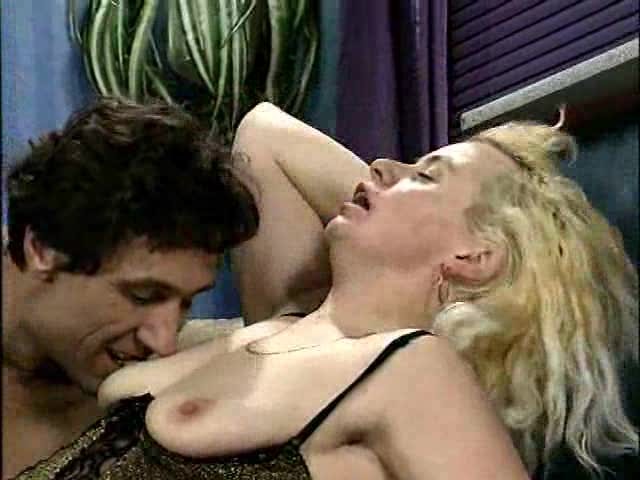 German blonde in lingerie craves cock