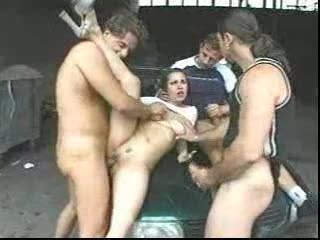They gangbang their slut outdoors