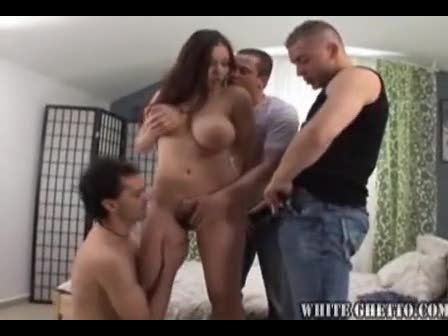 Three guys fucking the hairy pussy girl