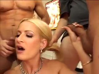 Blonde takes many cumshots in her mouth