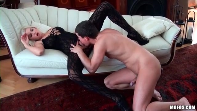 Hot blonde in body stocking fucked in the pussy