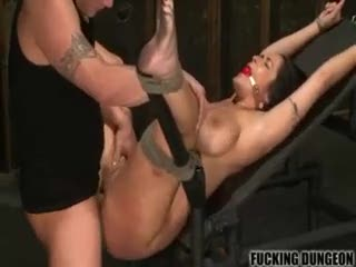 Chick in bondage taking cock