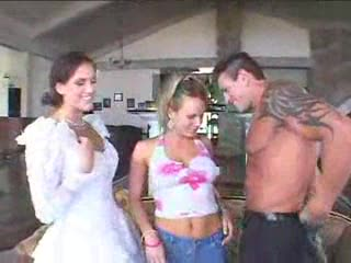 Pretty bride does threesome in hot scene