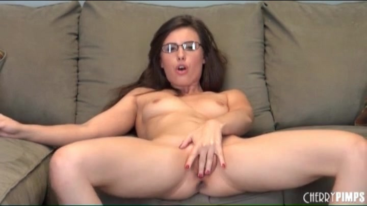 Small breasts beauty in glasses masturbates solo