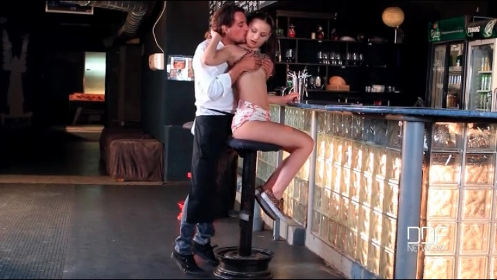 Bartender seduces a cutie and sucks her tits