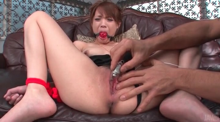 Tied cutie moans for a vibrator on her cunt