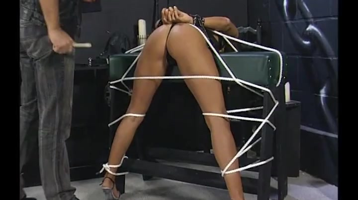 Tied up girl finger banged by her master