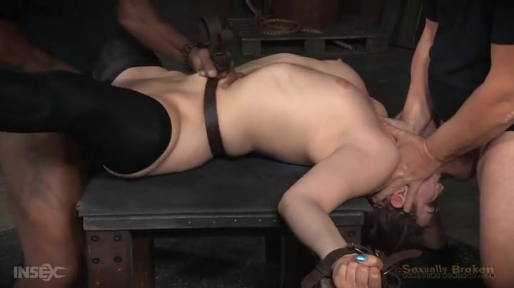 Rough bondage sex overwhelms a slutty brunette