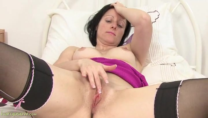 Cute freckled milf masturbates in stockings 2