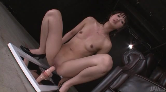 Riding a long lifelike dildo makes the Asian girl squirt