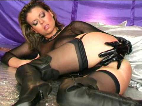 Leather and lingerie on this hot masturbating girl