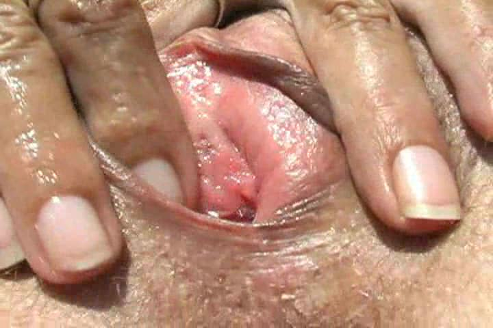 Close up of hairy mature pussy fingered