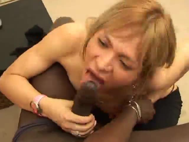 Shemale and the big black cock get it on