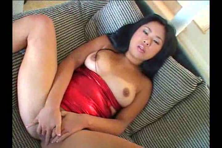 Asian in shiny dress taking POV dick
