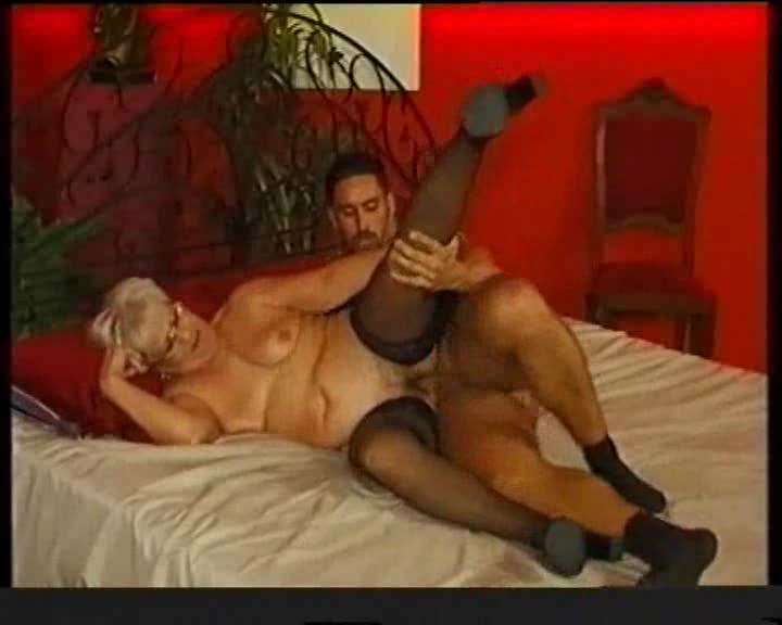 Granny in black stockings slammed hard and deep