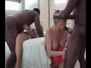 Two matures and two black guys party