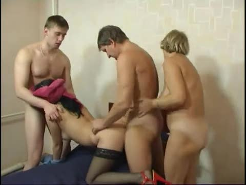 Exciting Russian family hardcore foursome