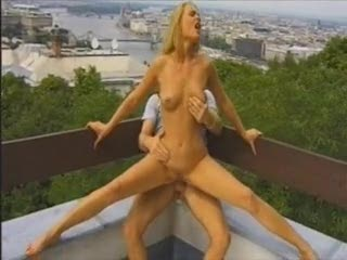 Sweet rooftop sex with the hot blonde