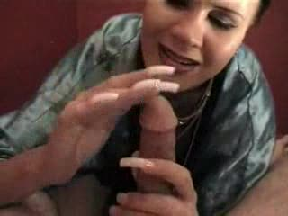 Chick with really long nails gives a handjob
