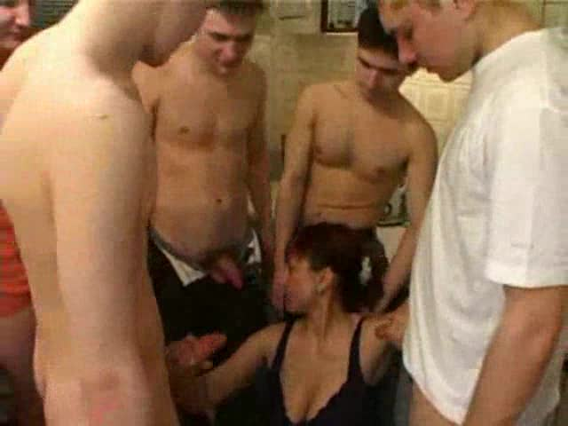 A group of guys fuck a hot Russian mom