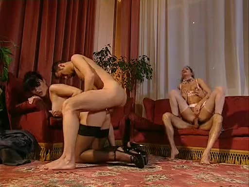 French maid joins post dinner orgy