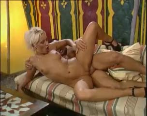 Amazing interracial double penetration with blonde