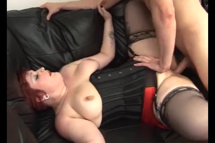 Tattooed fat redhead fucked in pierced pussy