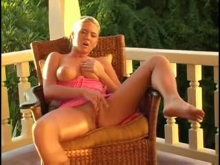 Busty Alison Angel masturbates outdoors