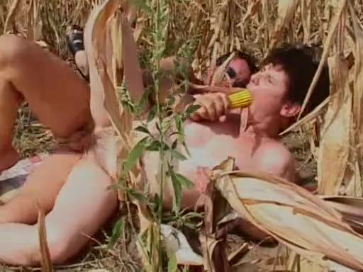 Fucking mature in a field of corn