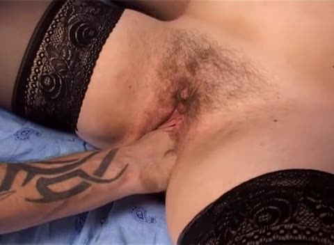 Fat girl fisted in her hairy pussy