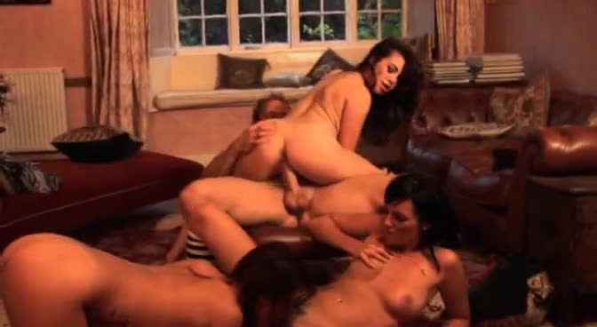 Three hotties and one lucky man have group sex