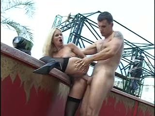 Stockings blonde slut fucked outdoors