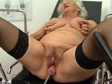 Fucking machine doing the granny whore