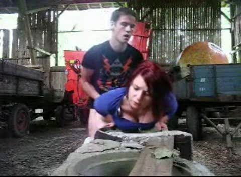 Redhead fucked in a pile of hay