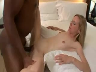 Super skinny girl takes the super big black cock